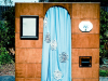 photobooth with blue curtain